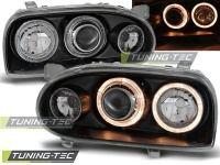 Přední světla Volkswagen Golf 3, 1992-1998, Angel Eyes, černé black 4 SLEVA 5%