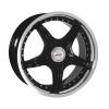 zvětšit náhled - Litá kola DYNAMICS model MEGASTAR velikost 7.5x18 palců -- černá barva s leštěným stříbrným límcem